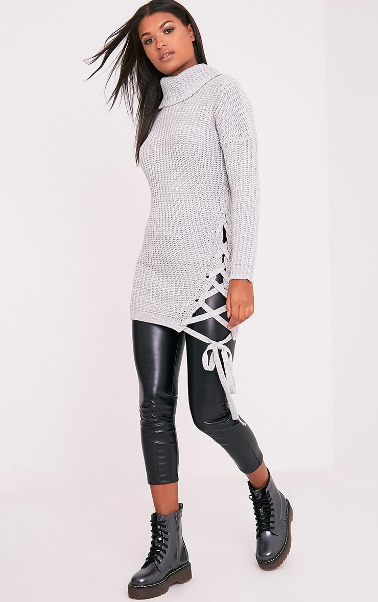 Millia pull surdimensionné gris à col roulé et lacets sur le côté  5