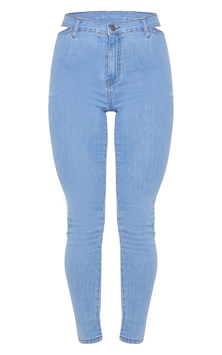 Light Blue Wash Cut Out Waist Disco Skinny Jeans 5