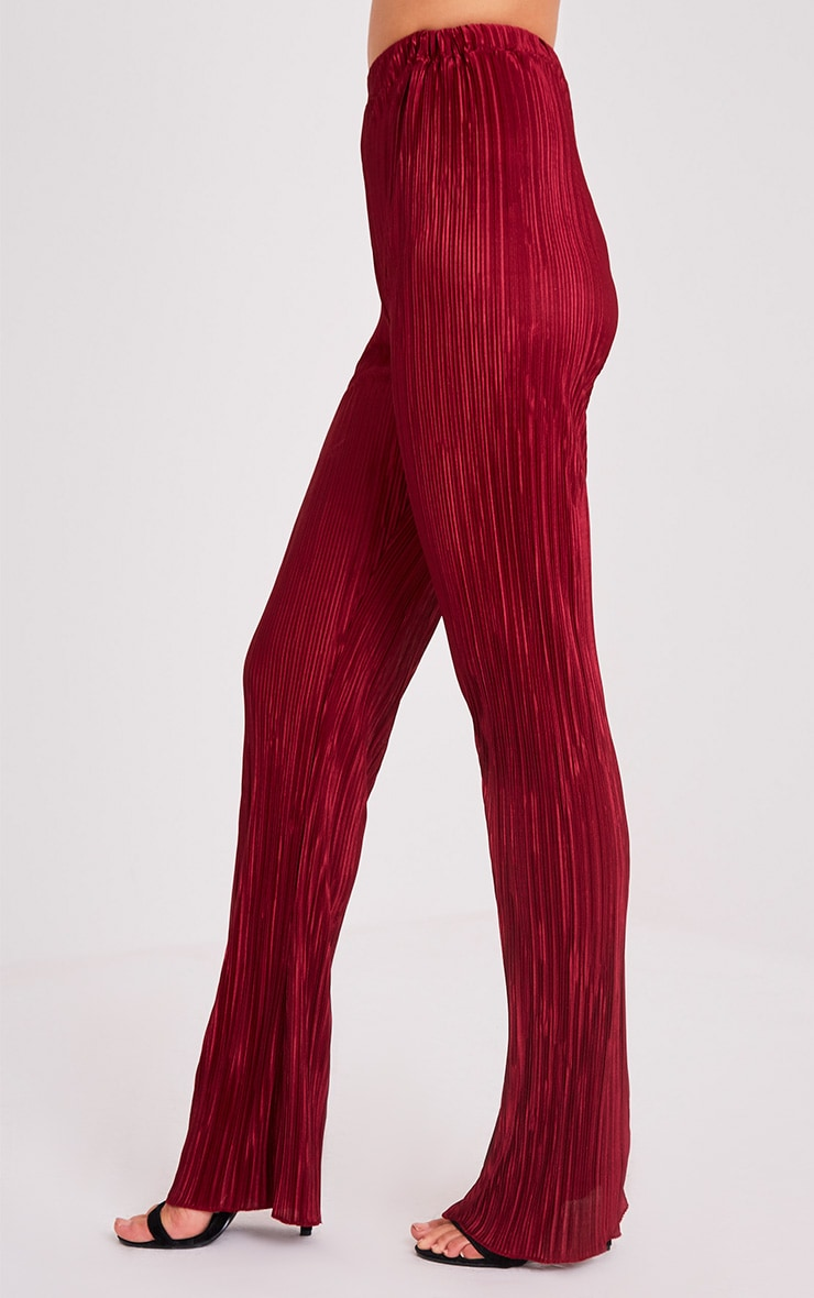 Follie Wine Pleated High Waisted Trousers 4