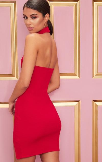 Red Ribbed High Neck Split Detail Bodycon Dress