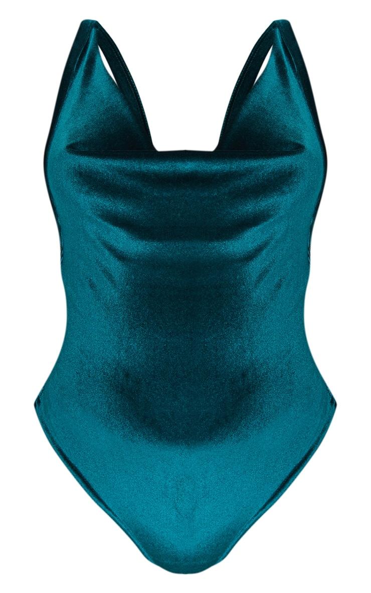 Emerald Green Velvet Cowl Neck Bodysuit 3