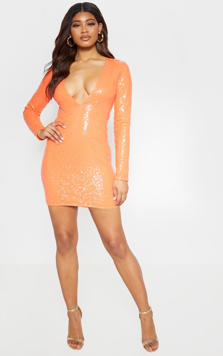Tall Coral Deep V Long Sleeve Sequin Dress 4