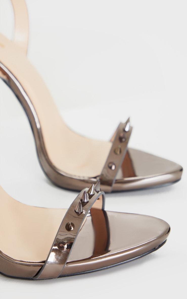 Metallic Grey Spike Strap Stiletto Ankle Strap Heeled Sandal 3