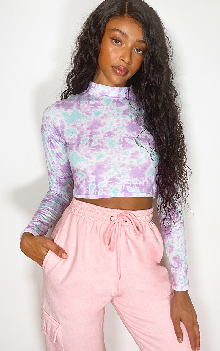 Lilac Jersey Tie Dye Backless High Neck Top 2