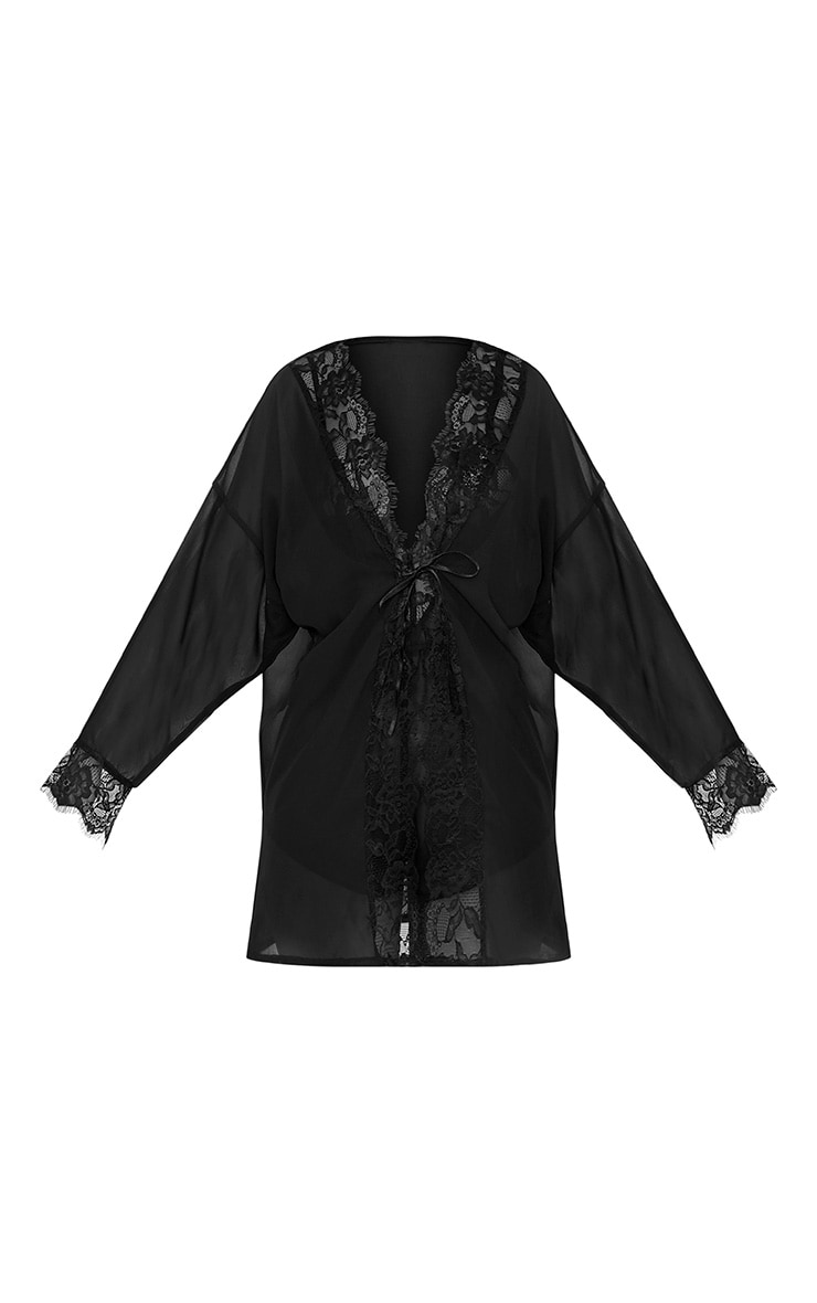 Hazel Black Chiffon Short Dressing Gown 4