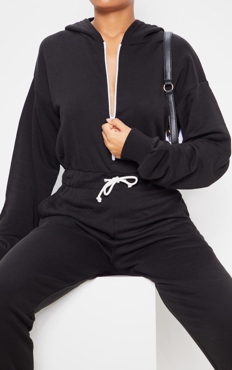 Black Long Sleeve Hooded Sweat Jumpsuit 5