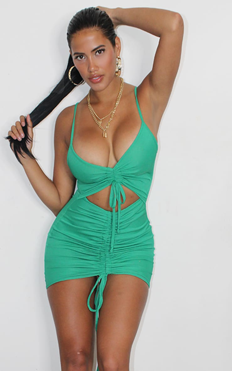 Shape Emerald Green Ribbed Ruched Cut Out Bodycon Dress 2