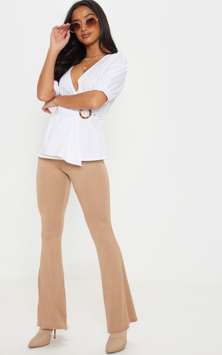Petite Camel  Basic Flare Leg Pants 1