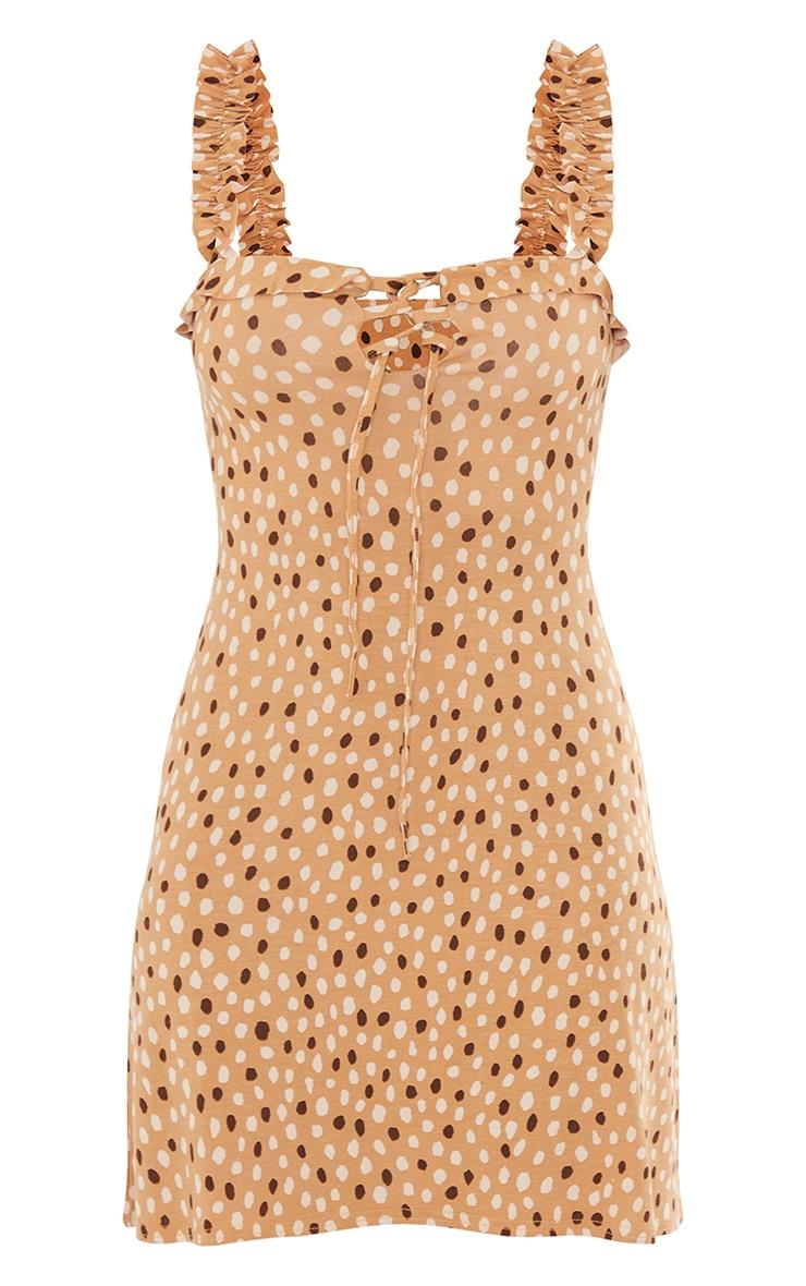Nude Dalmatian Print Frill Detail Shift Dress 5