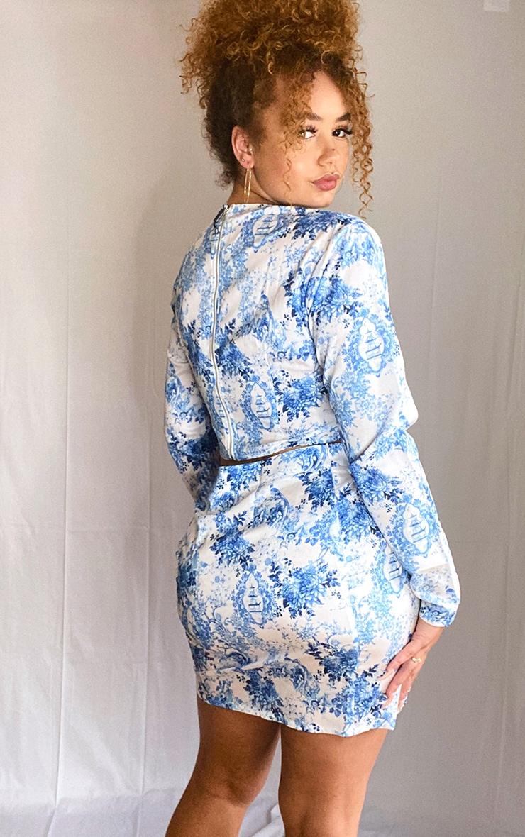 Plus Dusty Blue Porcelain Print Lace Up Detail Mini Skirt 3