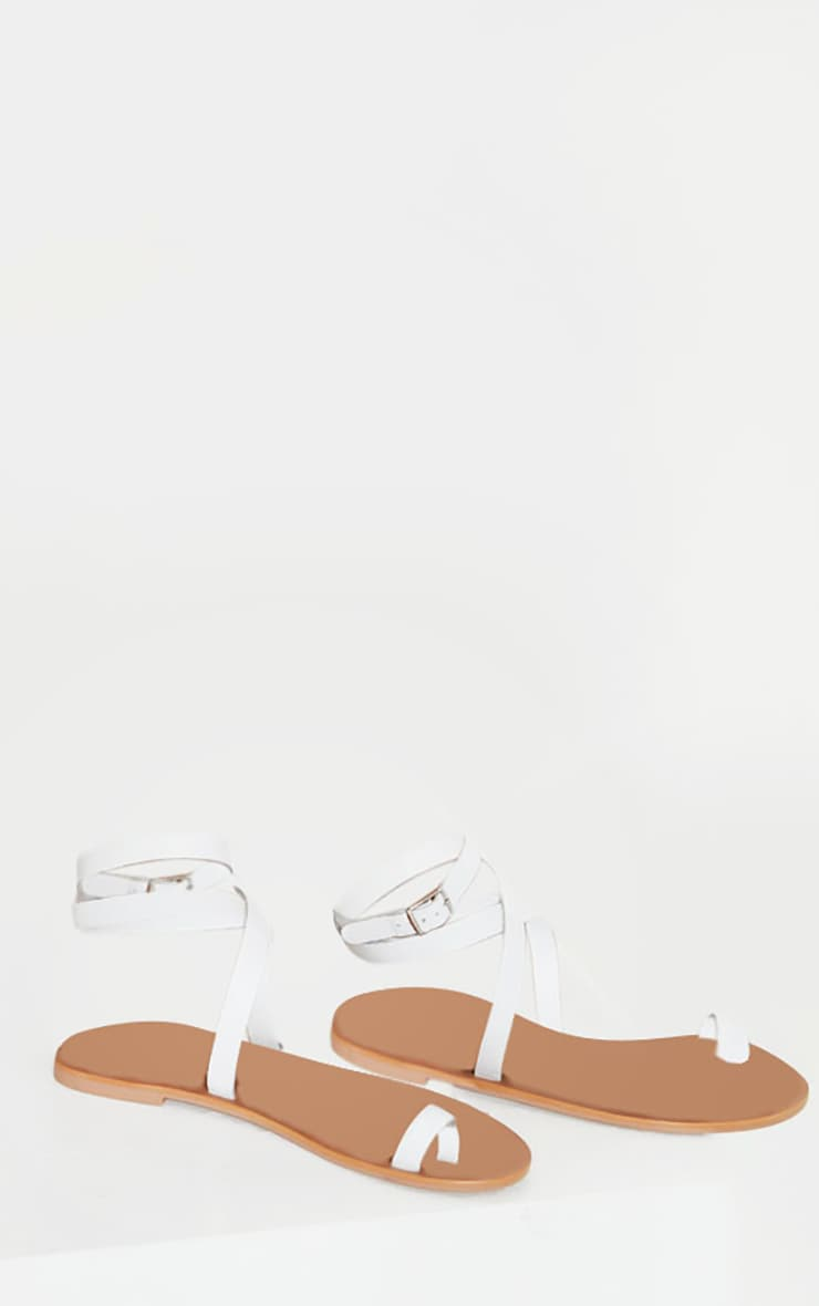 White Toe Loop Barely There Ankle Strap Sandals 3
