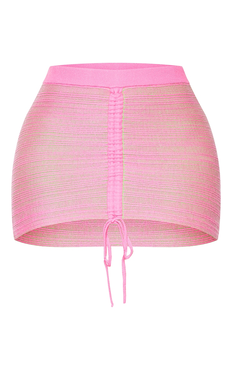 Shape Hot Pink Contrast Knit Ruched Front Bodycon Skirt 6