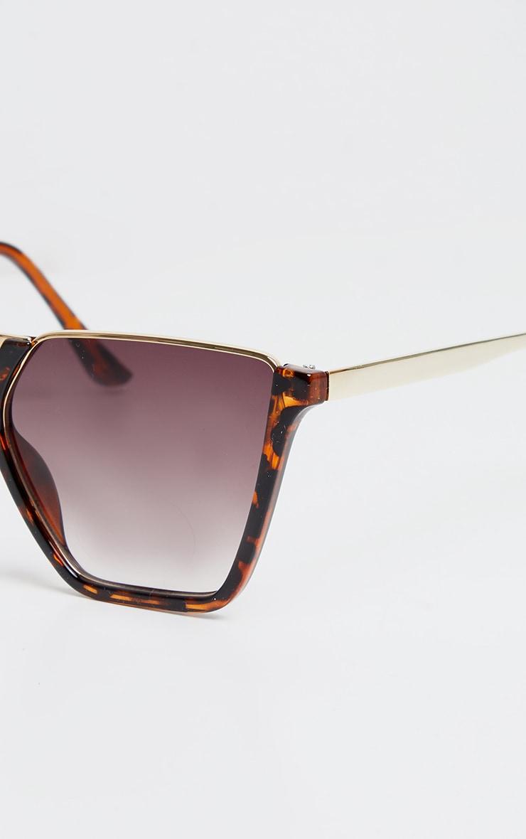 Brown Tortoise Half Frame Sunglasses 3