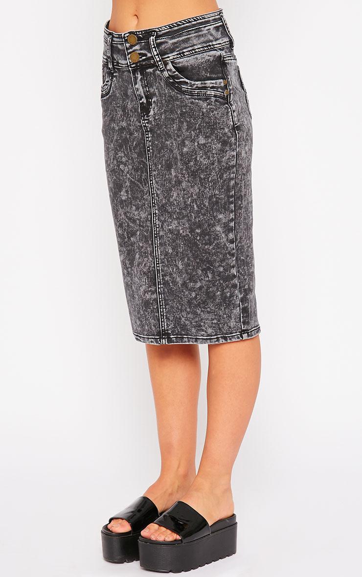 Edie Grey Acid Wash Denim Midi Skirt 3