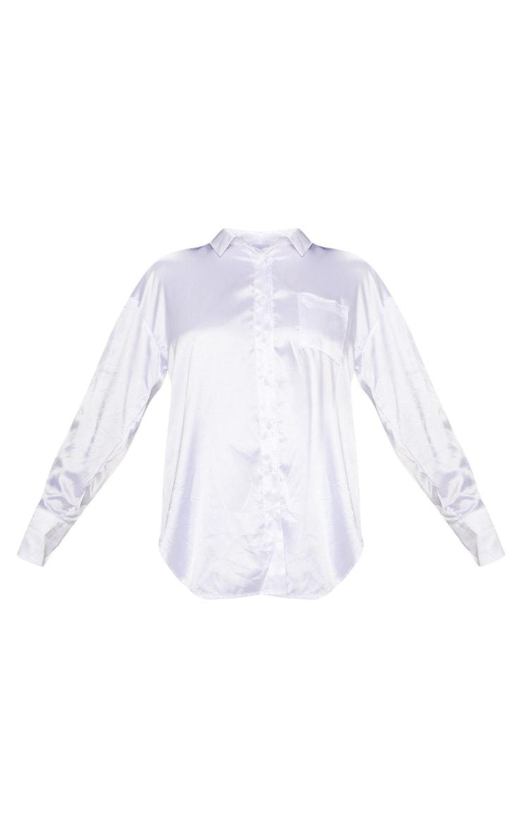 Tall - Chemise satinée blanche à poches 3