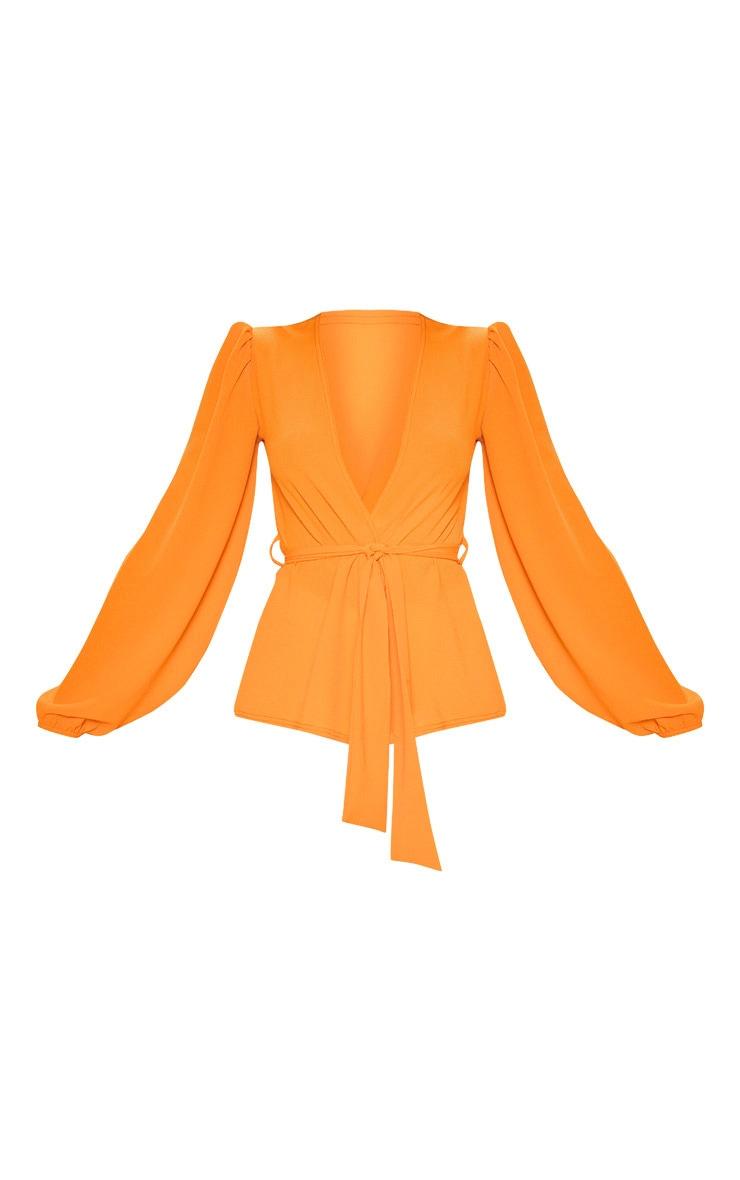 Orange Crepe Waist Belt Tie Long Sleeve Blouse 3