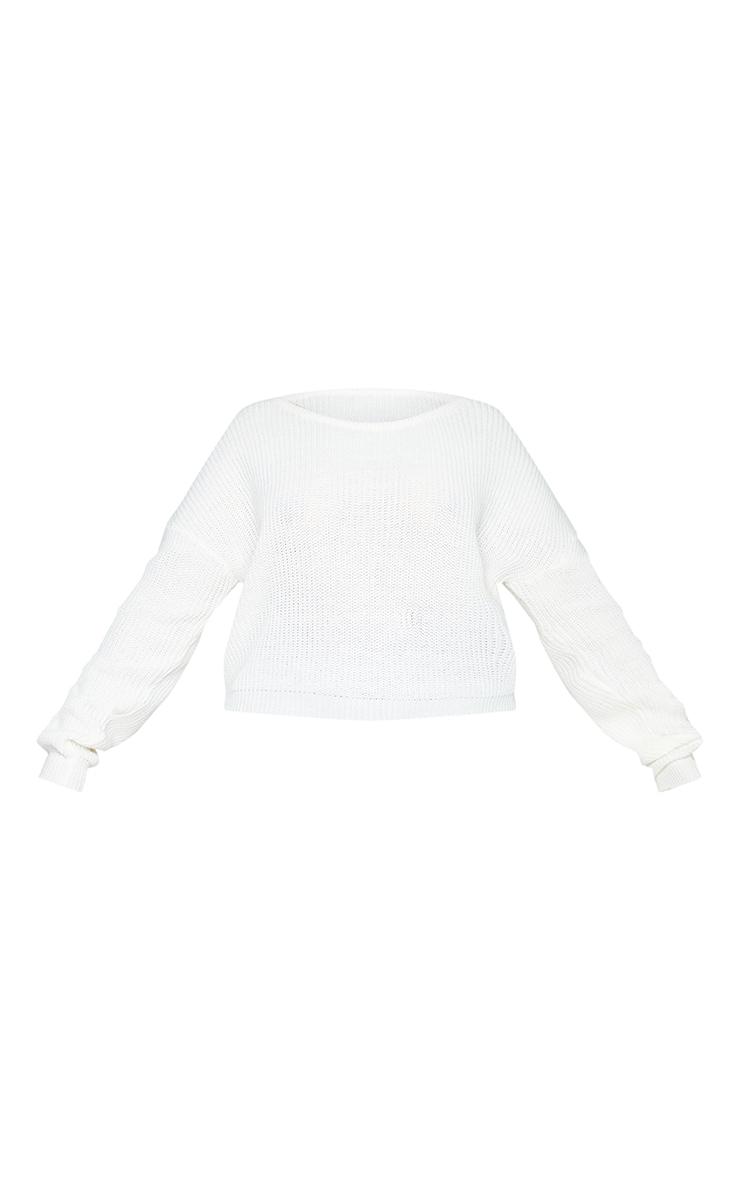 Plus Cream Slash Neck Crop Knitted Jumper 5
