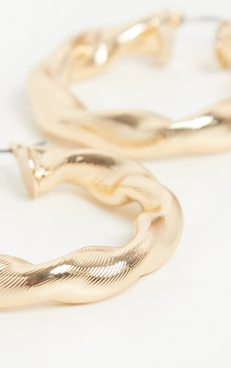 Gold Chunky Twist Hoops 4