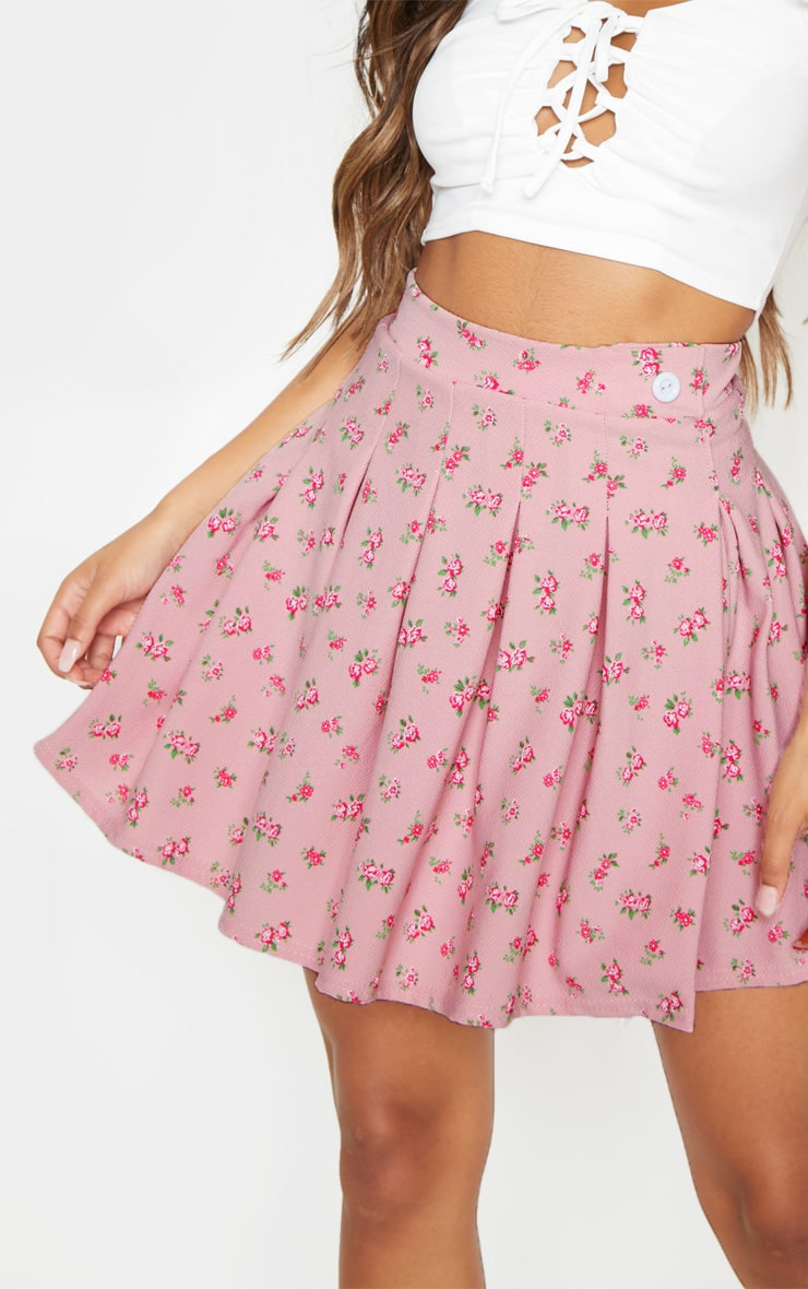 Pink Ditsy Floral Print Pleated Split Side Tennis Skirt  6