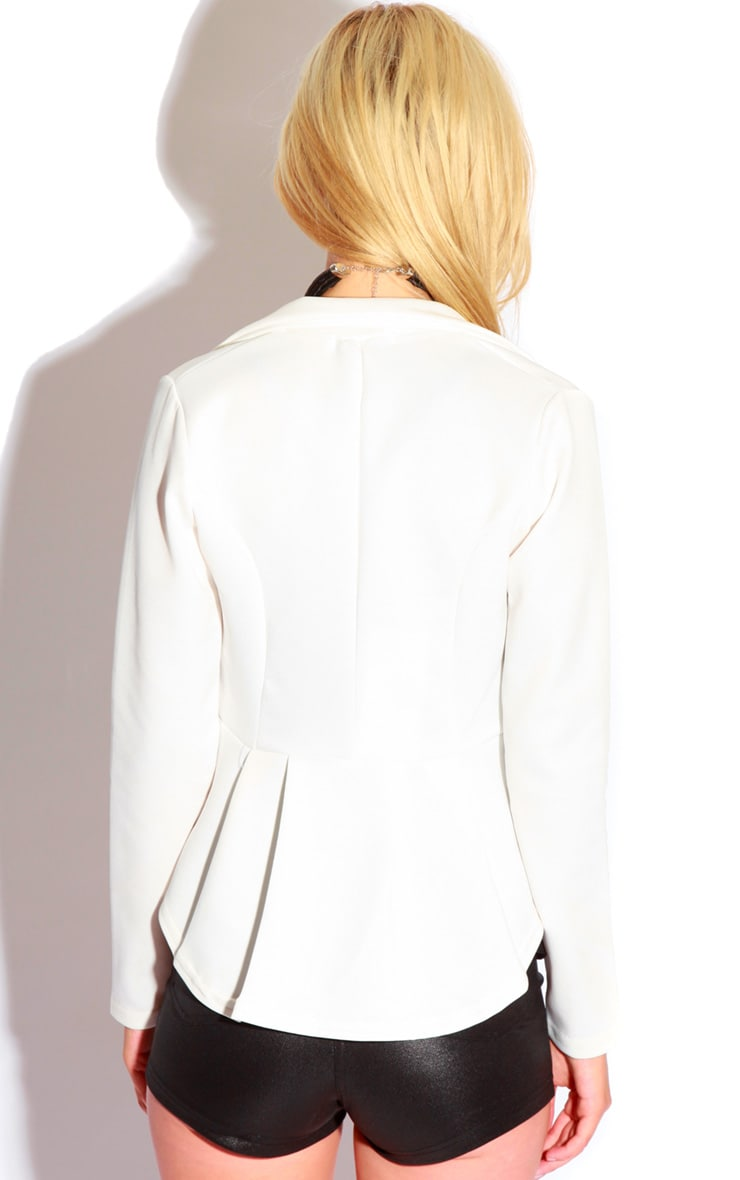 Caden White Peplum Button Blazer 2