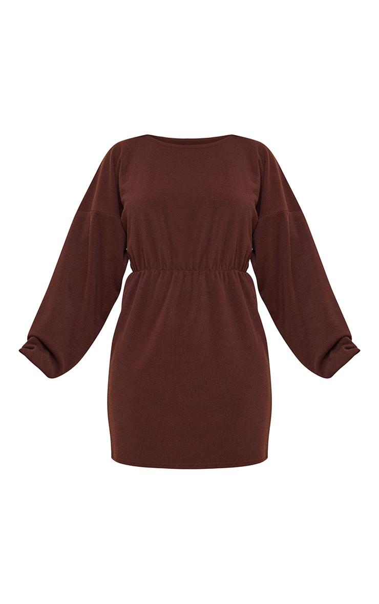 Chocolate Rib Batwing Sleeve Elasticated Waist Shift Dress 5