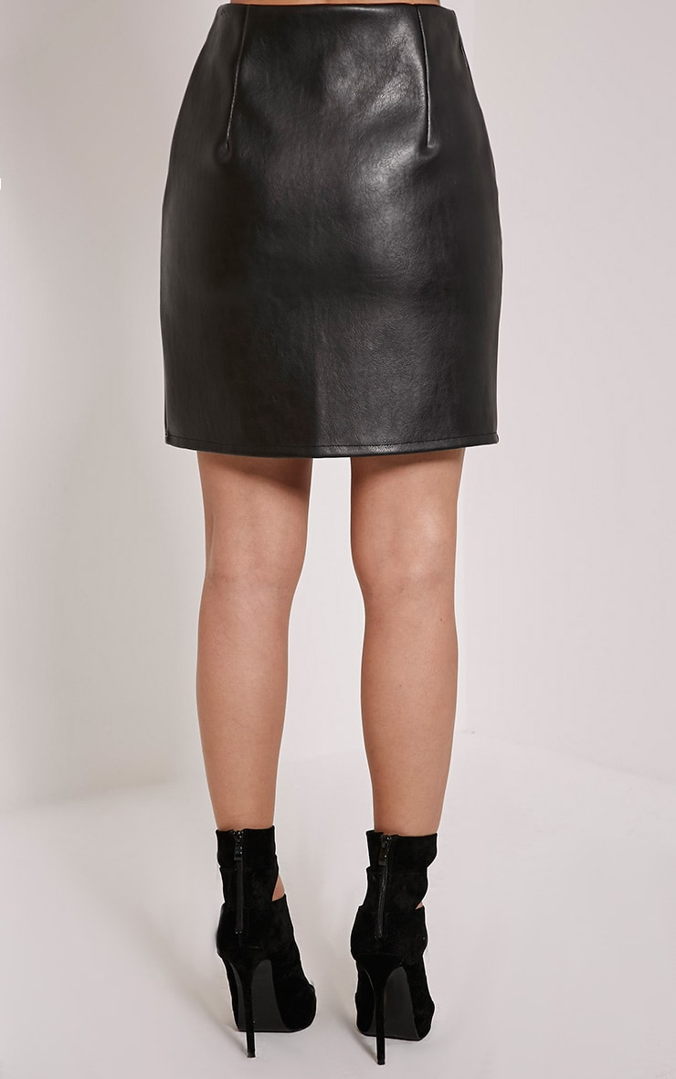 Chandra Black Faux Leather Zip Up Mini Skirt 3
