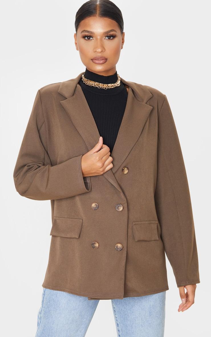 Taupe Oversized Shoulder Padded Blazer 1