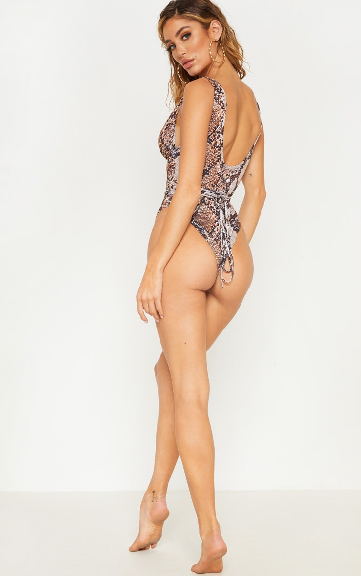 Brown Snake Cut Out Wrap Around Swimsuit 2