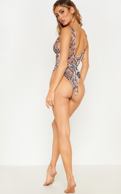 Brown Snake Cut Out Wrap Around Swimsuit