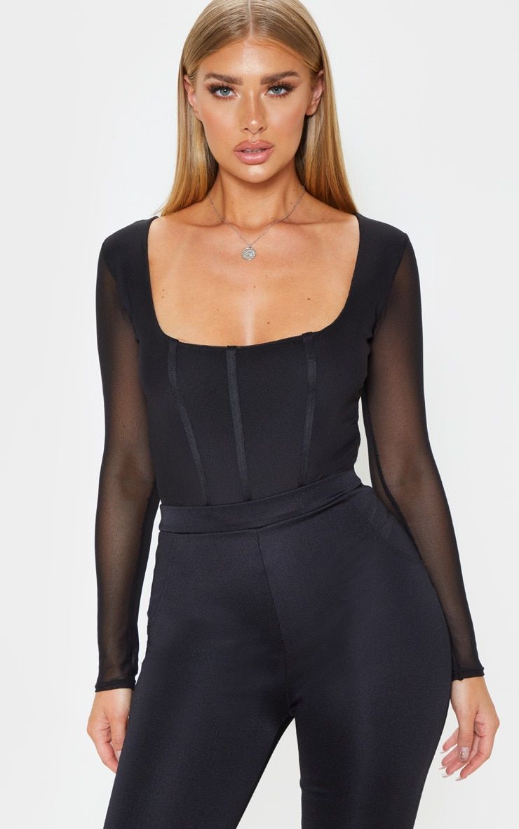 Black Sheer Square Neck Mesh Bodysuit 1