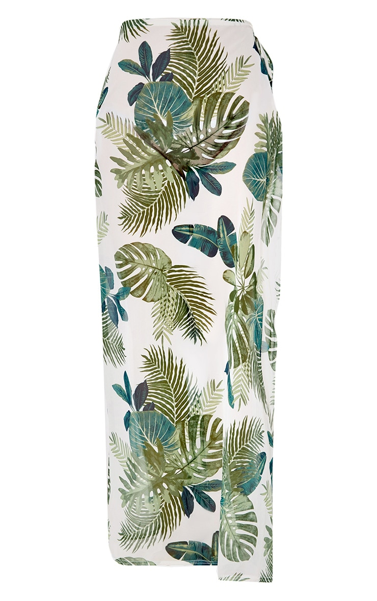 White Chiffon Palm Print Beach Maxi Skirt 3