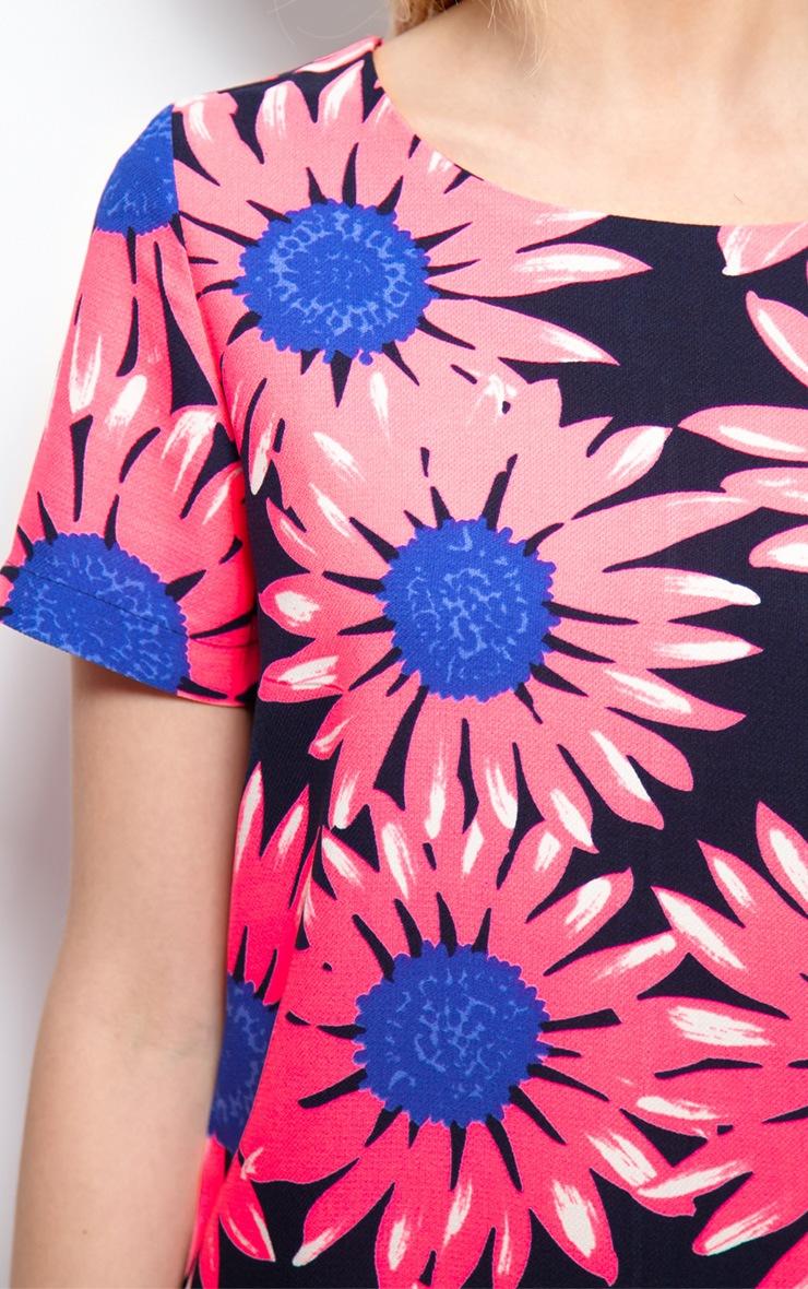 Savannah Neon Floral Print Shift Dress 4