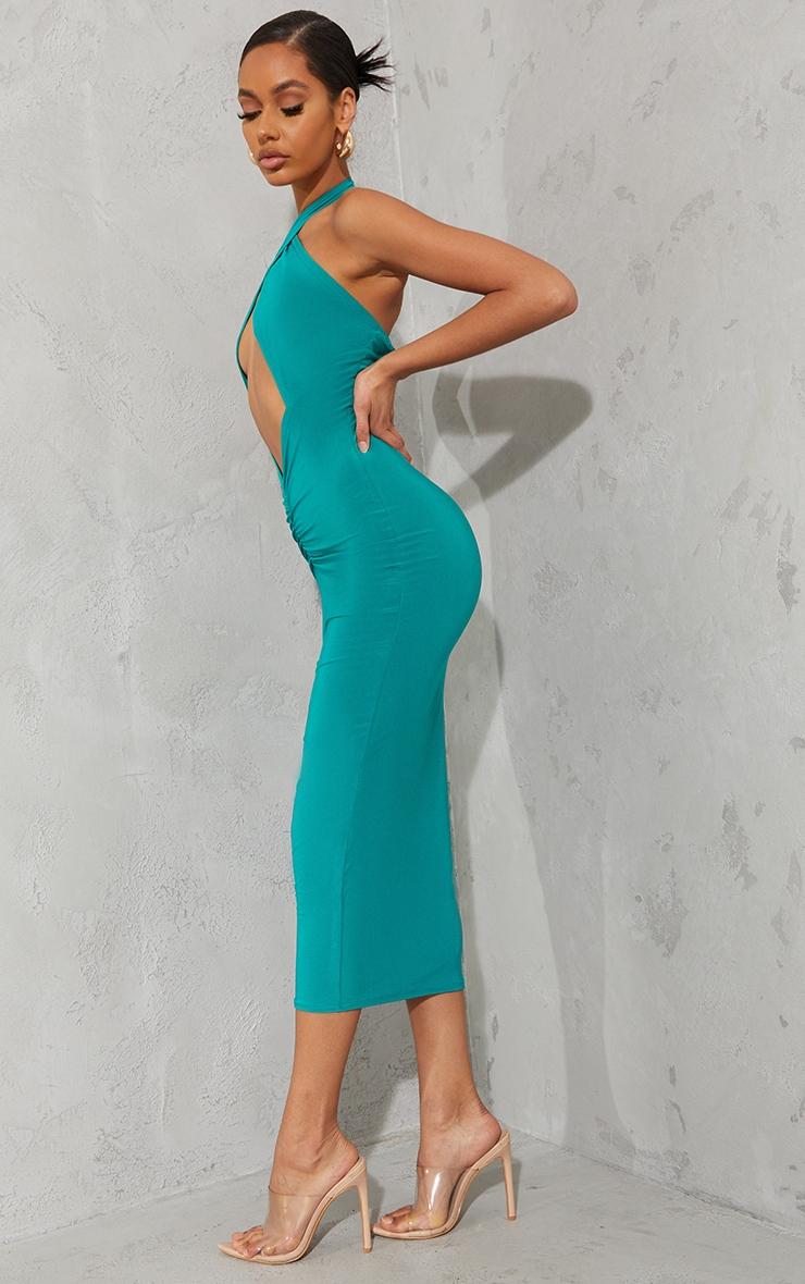 Green Slinky Cross Halterneck Cut Out Midaxi Dress 3