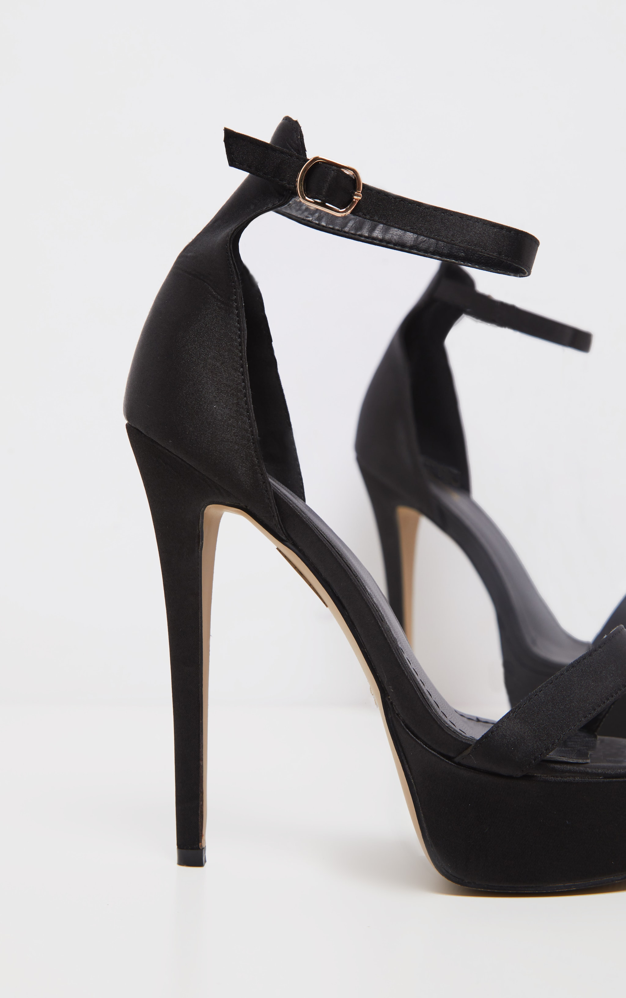 Black Satin Single Strap Platform Heels 4