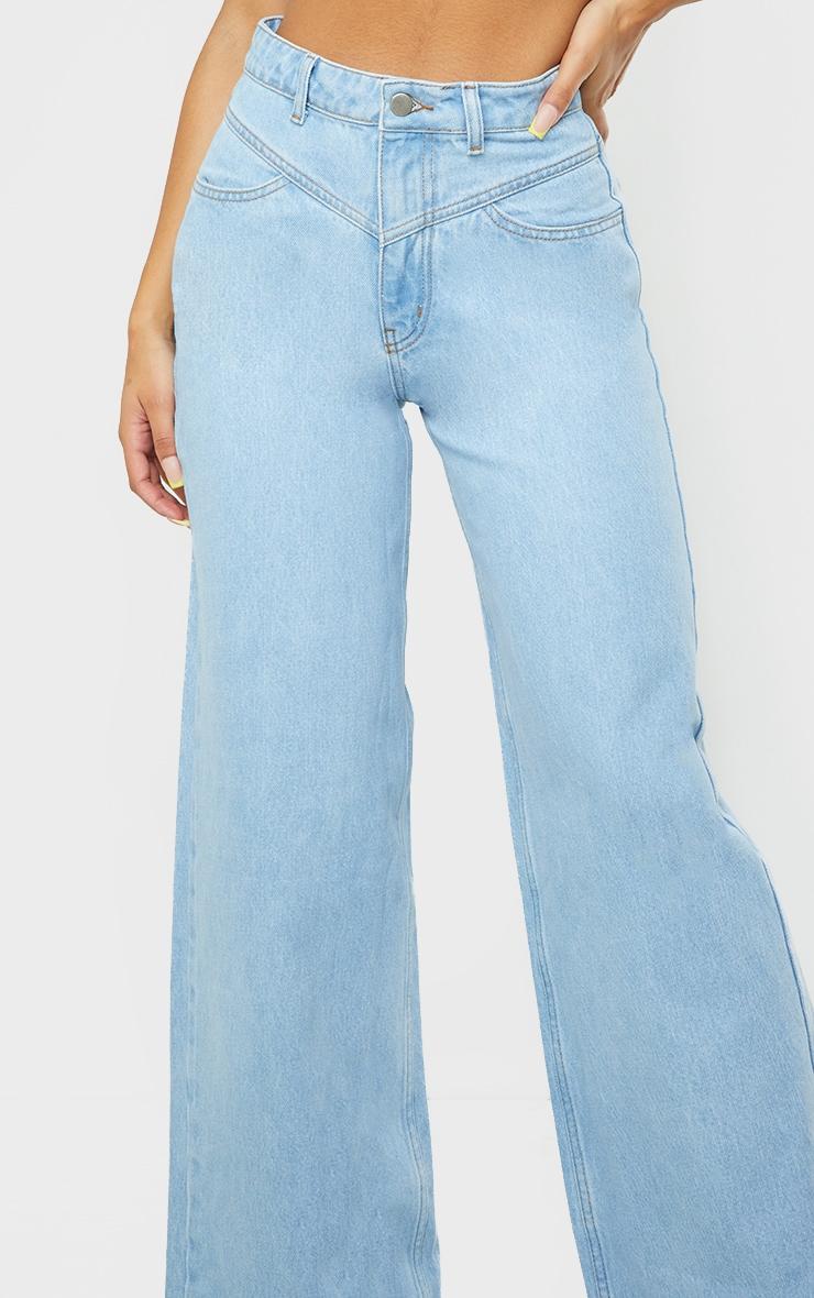 Light Blue Wash Seam Detail Wide Leg Jeans 4