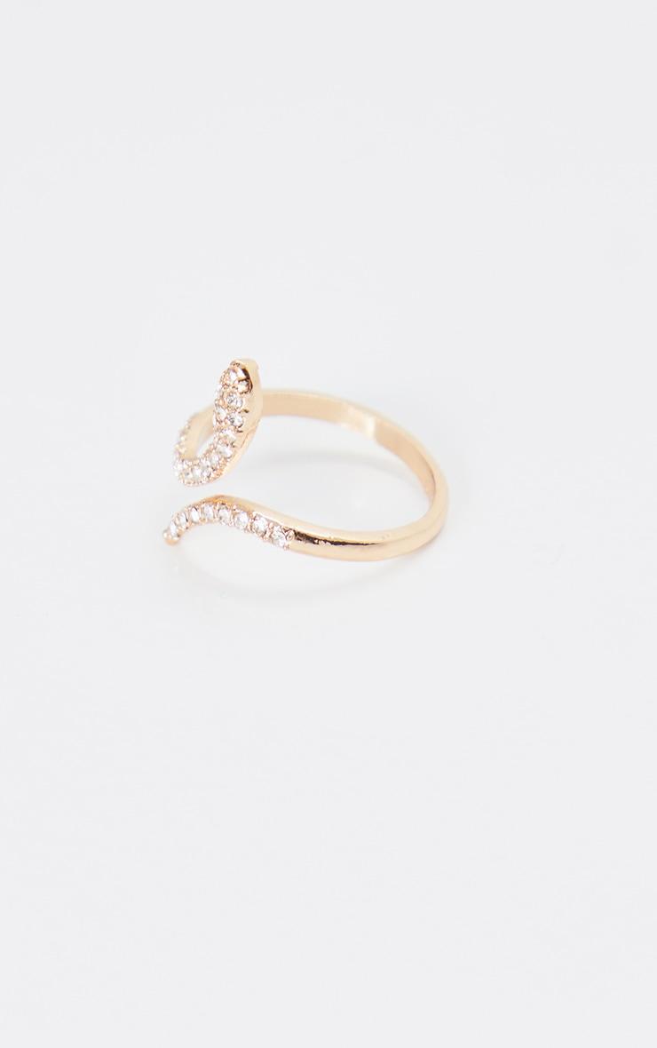Gold Diamante Delicate Snake Ring 3