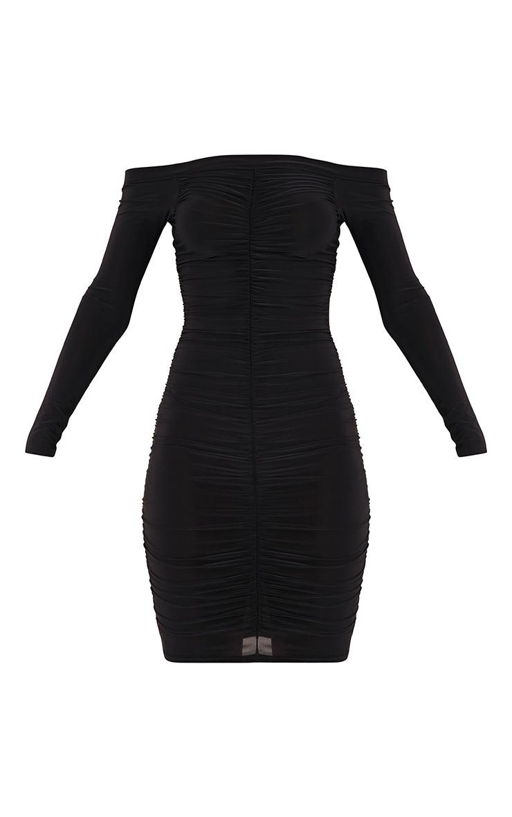 Bekkah Black Slinky Bardot Ruched Bodycon Dress 3