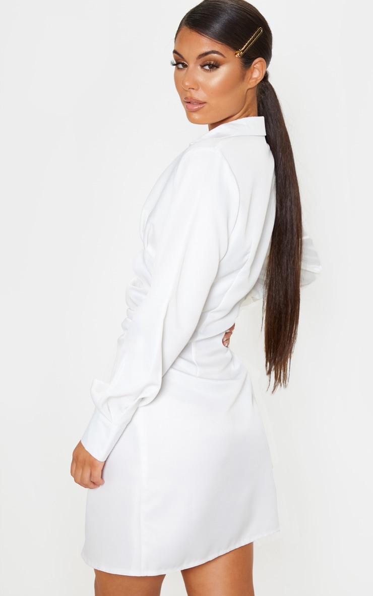 White Ruched Waist Detail Shirt Dress 2