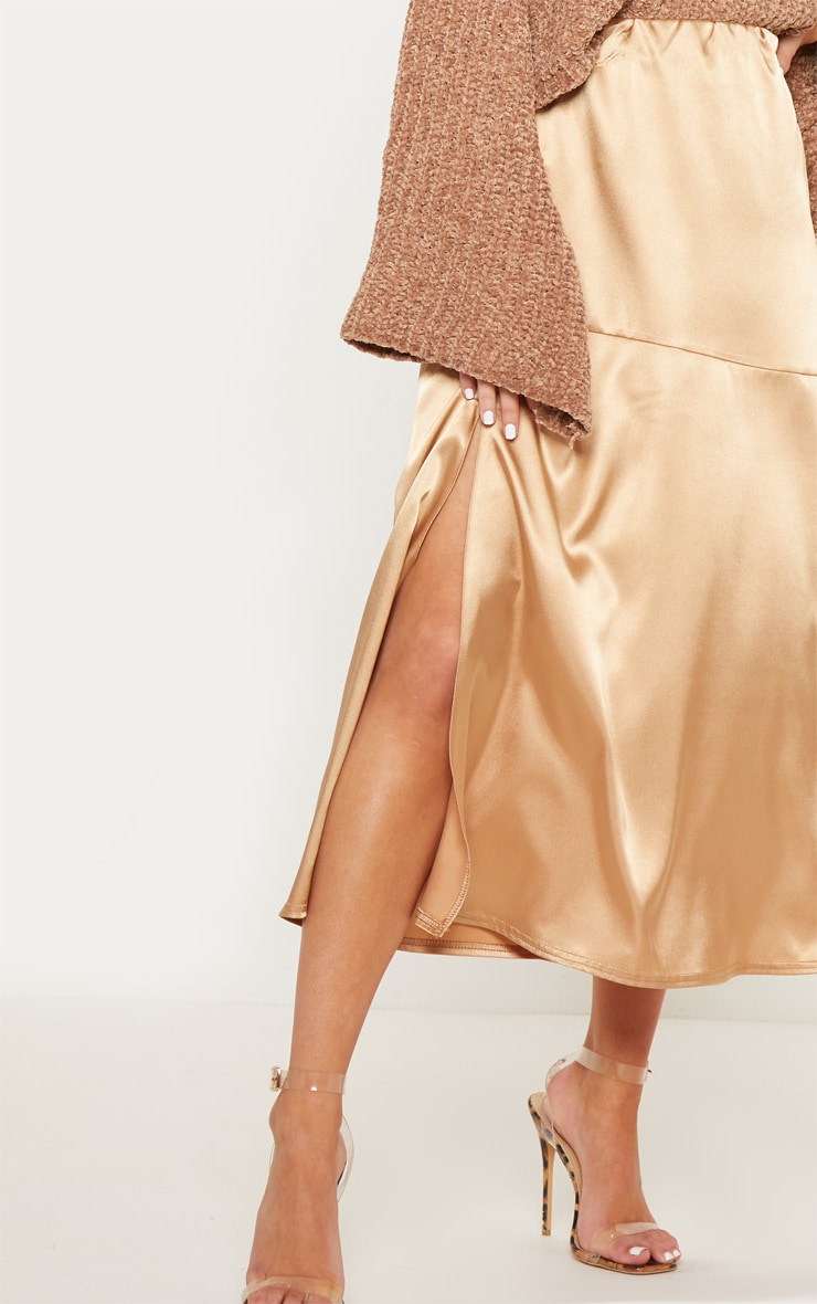 Champagne Satin Asymmetric Panel Floaty Midi Skirt 5