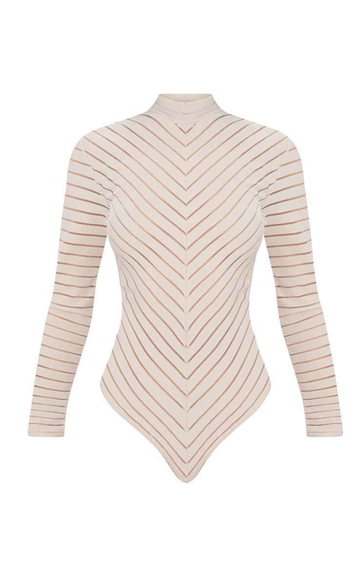 Nude Chevron Mesh Long Sleeve Thong Bodysuit 3