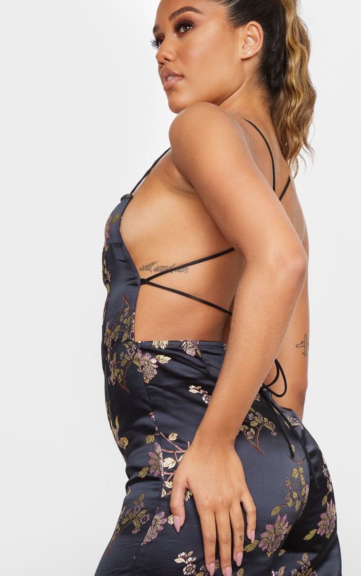 Black Oriental Satin Lace Up Back Jumpsuit 4