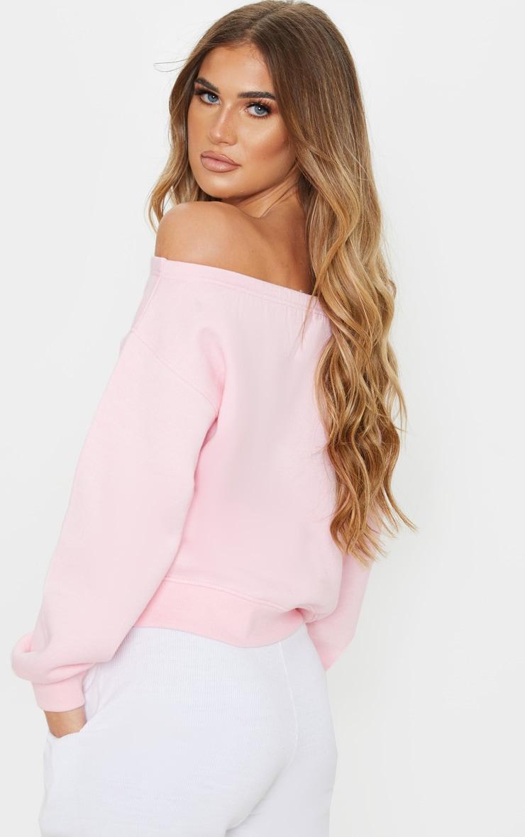 Baby Pink Bardot Oversized Sweater 2