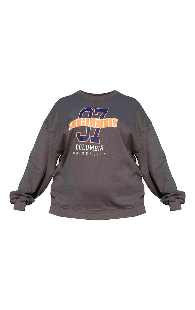 Plus Charcoal 97 Athletic Slogan Sweater 5