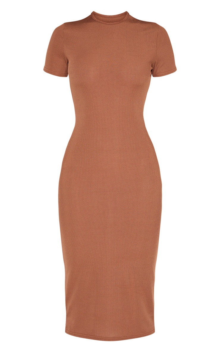 Chocolate Ribbed Crew Neck Midi Dress 3