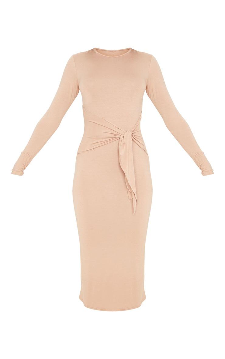 Camel Tie Waist Long Sleeve Midi Dress 3