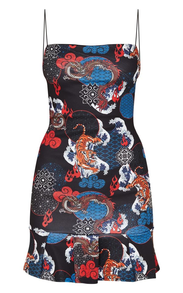 Black Oriental Print Frill Hem Scuba Bodycon Dress 3