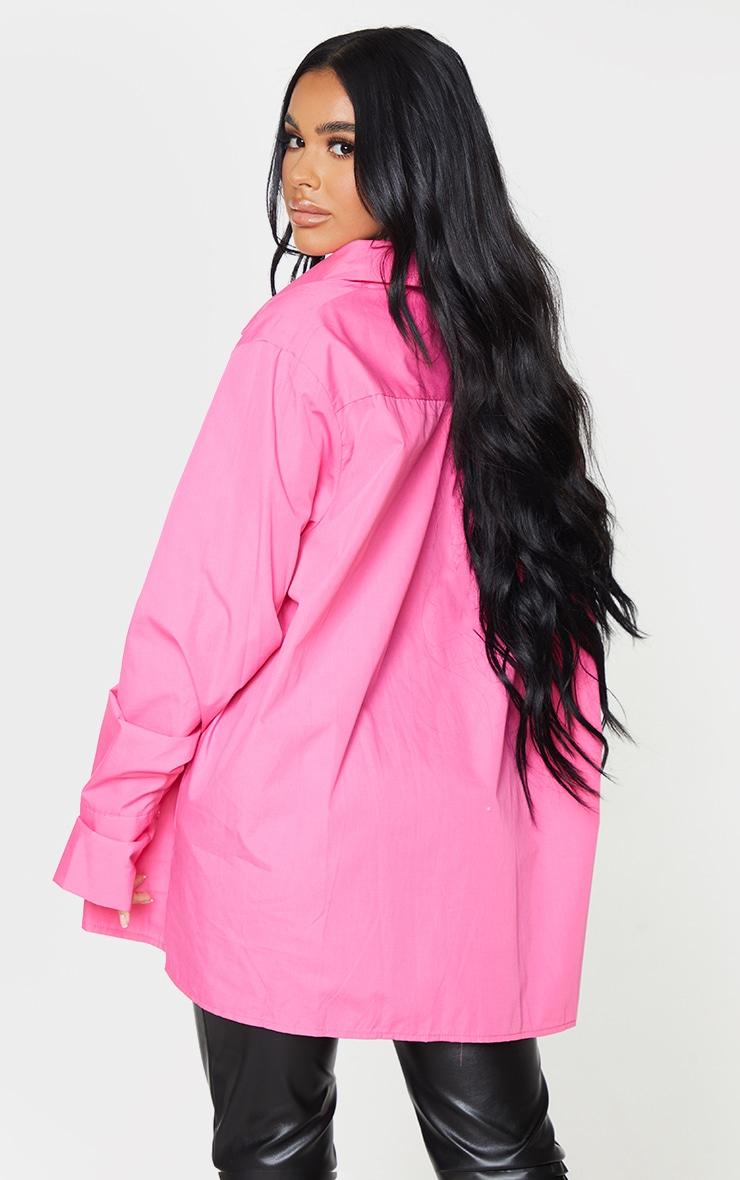 Petite Pink Oversized Cuff Detail Shirt 2