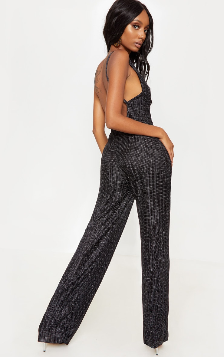 Black Polka Dot Plisse Jumpsuit 2