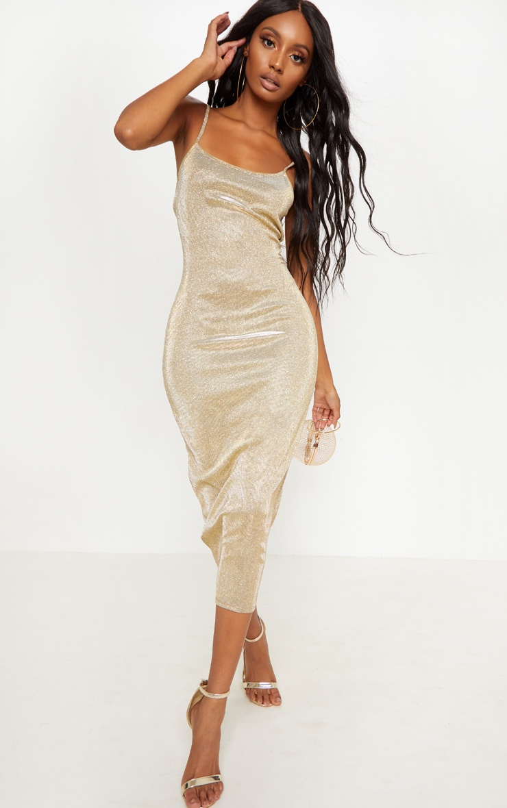Gold Strappy Glitter Midaxi Dress 4