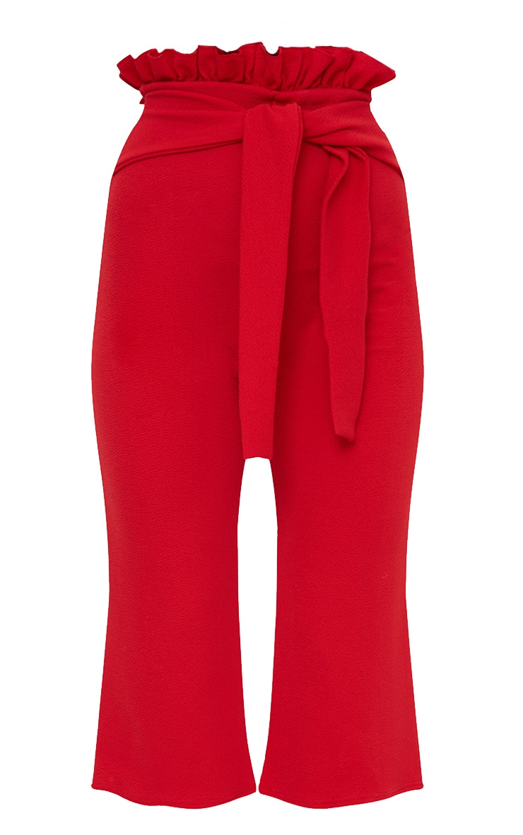 Petite Red Paperbag Waist Culottes  3